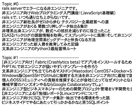 1682記事をLDAトピック分類(scikit-learn LDAとldaを比較)